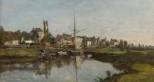 Деревня в Нормандии на берегу реки, 1858-62 - Буден, Эжен