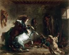 Арабские скакуны, дерущиеся в конюшне - Делакруа, Эжен