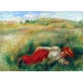 Девушка, лежащая в траве - Ренуар, Пьер Огюст