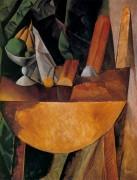 Хлеб и фрукты на столе, 1909 - Пикассо, Пабло