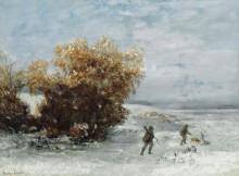 Охотники на снегу - Курбе, Гюстав