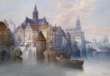 Городской пейзаж с пристанью - Зиген, Август фон