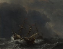Три корабля в шторм - Велде, Виллем ван де (Младший)