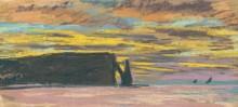 Скалы Пор д'Аваль, Этрета. Закат солнца - Моне, Клод