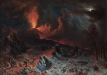 Вид на Везувий в ночное время - Бирштадт, Альберт