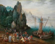 Прибрежный пейзаж с рыбным рынком - Брейгель, Ян (Старший)