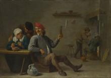 Мужчина держащий стакан и старуха зажигающая трубку -  Тенирс, Давид