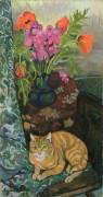 Букет цветов и рыжий кот - Валадон, Сюзанна