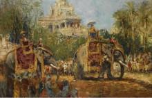 Махараджа и его слоны на шествии в фестивале Дуссехра в Майсур - Бастьен, Альфред
