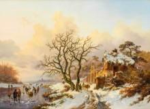Зимний пейзаж с фигуристами у руин часовни Виллер-Ла-Виль - Круземан, Фредерик Маринус