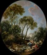 Пейзаж с рыбаками и девушкой - Буше, Франсуа
