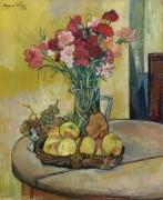 Натюрморт с корзиной яблок, виноградом и вазой с цветами - Валадон, Сюзанна