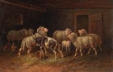 Козел и овцы в хлеву - Новай, Адольф