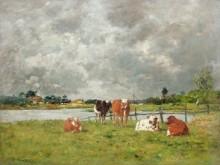 Коровы в поле под грозовыми облаками - Буден, Эжен