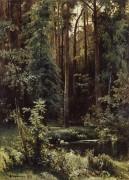 Пейзаж с лесным озером, 1889 - Шишкин, Иван Иванович