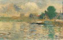 Баржа на Сене, 1884 - Сёра, Жорж-Пьер