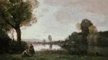Возле замка на Сене - Коро, Жан-Батист Камиль