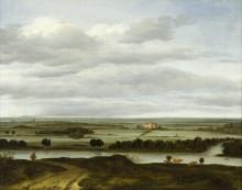 Панорамный пейзаж близ Ренена с замком Хейс тер Леде - Борсом, Антони ван