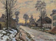 Дорога в Лувесьен, закат - Моне, Клод