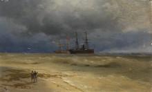 Два корабля, стоящие у берега - Айвазовский, Иван Константинович