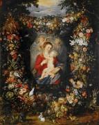 Мадонна с Младенцем в цветочно-фруктовой гирлянде - Брейгель, Ян (Старший)