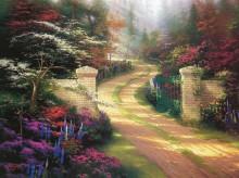 Весенний пейзаж с парковыми воротами - Кинкейд, Томас