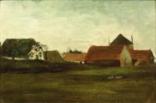 Фермерские домики в сумерках, Лоосдуинен близ Гааги (Farmhouses in Loosduinen near the Hague in Twilight), 1883 - Гог, Винсент ван