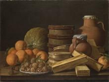 Натюрморт с апельсинами и грецкими орехами - Мелендес, Луис Эгидия