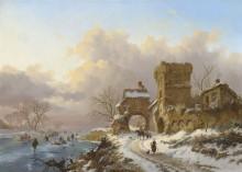 Зимний пейзаж с путниками у городских ворот - Круземан, Фредерик Маринус