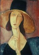 Портрет женщины в большой шляпке - Модильяни, Амадео