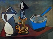 Кувшин, подсвечник и эмалированная кастрюля,1945 - Пикассо, Пабло