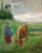 Пастушка с коровой, Понтуаз - Писсарро, Камиль