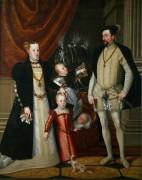 Максимилиан II (1527-1576) с супругой Марией Испанской и детьми Анной, Рудольфои и Эрнстом - Арчимбольдо, Джузеппе