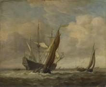 Две лодки и голландский военный корабль - Велде, Виллем ван де (Младший)