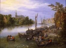 Деревня и пристань вдоль реки - Брейгель, Ян (Старший)