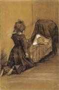 Девочка на коленях у колыбели (Girl Kneeling by a Cradle), 1883 - Гог, Винсент ван