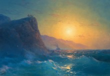 Вид на скалистый берег и бушующее море во время заката - Айвазовский, Иван Константинович