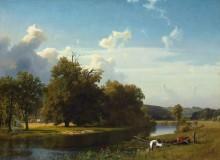 Речной пейзаж в Вестфалии - Бирштадт, Альберт