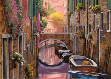 Канал в Венеции, мимозы - Борелли, Гвидо (20 век)