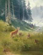Благородные олени на опушке леса - Скелль, Людвиг