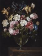 Цветы в стеклянной вазе на деревянном выступе - Арельяно, Хуан де