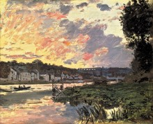 Сена в Буживале вечером, 1870 - Моне, Клод