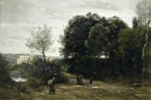 Виль-д'Авре, дорога у пруда - Коро, Жан-Батист Камиль