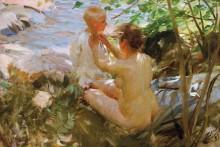 Женщина, одевающая ребенка - Цорн, Андерс