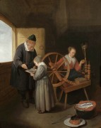 Интерьер школы, одна ученица учится чтению, другая прядет - Брекеленкам, Кварин Герритз ван
