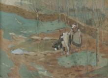 Пейзаж с женщиной и коровой - Фризек, Фредерик Карл