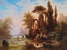 Купальщицы в романтическом пейзаже - Ригер, Альберт