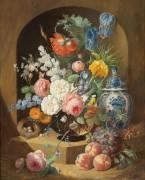Натюрморт с вазой и птичьим гнездом - Холстайн, Йозеф