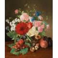 Натюрморт с цветами, ягодами, орехами и сливами - Лауэр, Йозеф