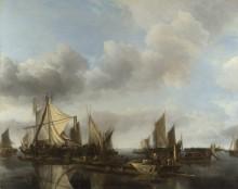 Река  с большим паромом - Капелле, Ян ван де